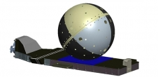Illustration of Cyclops flight hardware with SpinSat satellite attached.