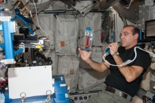 Rick Mastracchio conducting a Capillary Flow Experiment aboard the International Space Station.