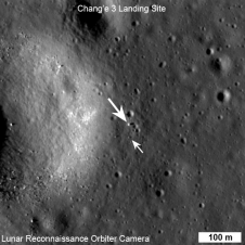 View of the Chang'e 3 lander (large arrow) and Yutu rover (small arrow)