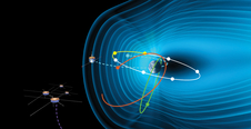 artists concept of Earths magnetic field with satellites