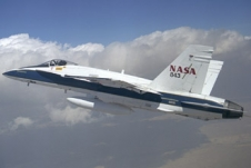 NASA Dryden F-18 aircraft in flight.