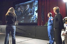 A high school student interviews the crew of the International Space Station