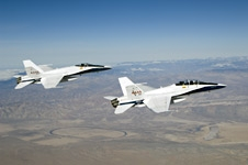 NASA Dryden research pilot Gordon Fullerton flies his final mission in NASA F/A-18B #852 in formation with NASA F/A-18A #850 on Dec. 21, 2007.