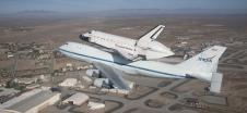 NASA's Shuttle Carrier Aircraft 905 flies low over Edwards Air Force Base on its final ferry flight on Sept. 21, 2012