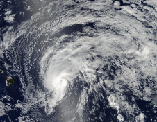 visual satellite image of hurricane over ocean