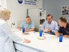 Food tasting session in the Habitability and Environmental Factors Office at NASA's Johnson Space Center.
