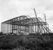 The steel framework of the Full-Scale Tunnel during construction in 1930.