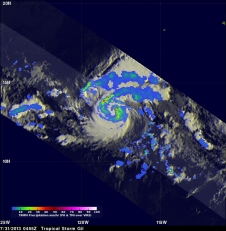 NASA's TRMM satellite traveled above intensifying Tropical Storm Gil on July 31 at 12:55 a.m. EDT.