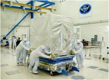 The Advanced Baseline Imager (ABI) instrument arrives for delivery and integration with the spacecraft.