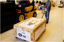The Extreme Ultraviolet and X-Ray Irradiance Sensors (EXIS) arrive in Denver from the Laboratory for Atmospheric and Space Physics (LASP) facility in Boulder, Colo.