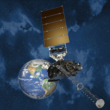 Artist concept of GOES-R in orbit.