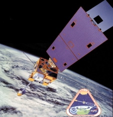 Artist Rendition of the GOES satellite in orbit above Earth.