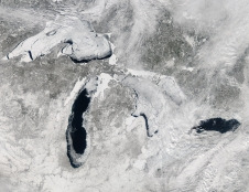 satellite image of ice and snow over Great Lakes