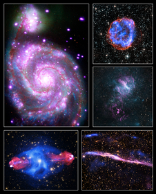Chandra collage of images M51, SNR E0519-69.0, MSH 11-62, Cygnus A, and RCW 86 found using data from NASA's Chandra X-ray