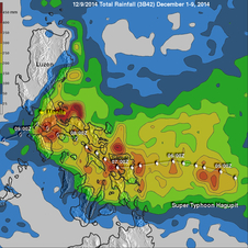 TRMM rainfall analysis for Hagupit