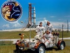 Apollo 17 crew with logo and moon buggy. Harrison Schmitt (standing top left), Ron Evans (standing top right) and Gene Cernan (seated).