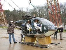 "Researchers at NASA's Langley Research Center in Hampton, Va., are testing the ""deployable energy absorber"" with the help of a helicopter donated by the Army, a crash test dummy contributed by the Applied Physics Laboratory in Laurel, Md., and a 240-foot (73.2 m) tall structure once used to teach astronauts how to land on the moon."