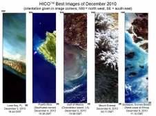 These are images taken from the International Space Station using the Hyperspectral Imager for the Coastal Ocean (HICO) instrument.