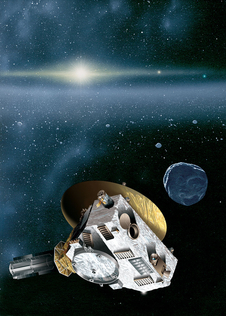 "This is an artist's rendering of the New Horizons spacecraft encountering a Kuiper Belt object — a city-sized icy relic left over from the birth of our solar system. The sun, more than 4.1 billion miles (6.7 billion kilometers) away, shines as a bright star embedded in the glow of the zodiacal dust cloud. Jupiter and Neptune are visible as orange and blue ""stars"" to the right of the sun."