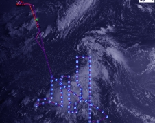 lines and squares on a satellite image of a tropical storm