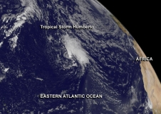 storm over Atlantic as Africa peers over the southeastern limb