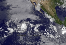 GOES-15 captured this image of Hurricane Gil being chased by developing low pressure System 90E on Aug 1, 2013.