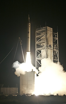 The HYBOLT and SOAREX missions launch aboard an ATK-ALV X-1 rocket from NASA's Wallops Flight Facility early in the morning of Aug. 22, 2008. The vehicle had to be destroyed shortly after liftoff.