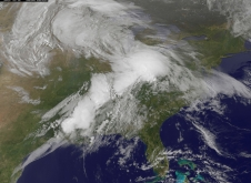 This NOAA GOES-East satellite image from Monday, April 28, 2014 at 13:01 UTC/9:01 a.m. EDT shows the same storm system that generated the severe weather outbreak yesterday, has moved to the east.
