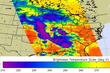 This false-colored infrared image from the AIRS instrument aboard NASA's Aqua satellite shows the cold cloud top temperatures associated with the severe thunderstorms that brought severe weather to seven states on April 27.
