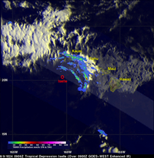 TRMM satellite passed over Iselle the center was passing well south of the far western islands of Kauai and Ni'ihau.