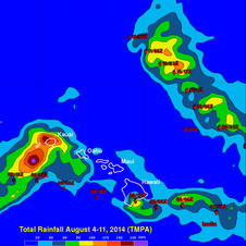 Rainfall rate map for the period Aug. 4 to 11