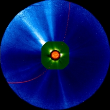 Predicted hour-by-hour position of Comet ISON in various instruments on one of NASA's Solar Terrestrial Relations Observatory spacecraft between 1 a.m. EST on Nov. 26, 2013, and 7 p.m. EST on Nov. 29, 2013.
