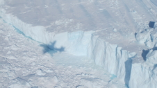 The edge of Greenland's Jakobshavn Glacier seen during an IceBridge survey flight on Apr. 19, 2014.