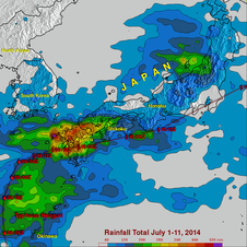 TRMM shows Neoguri's rainfall pattern across Japan