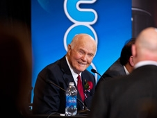 "John Glenn claimed to a delighted audience of tweeters and media that this was his first ""tweet-on"""