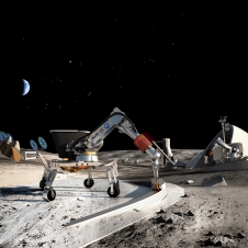Artist rendition of building structures on surface of the moon.