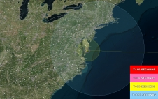 A visibility map for the LADEE launch from Wallops Flight Facility, Wallops Island, VA