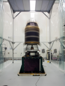 NASA's LADEE spacecraft rotates on a spin table.