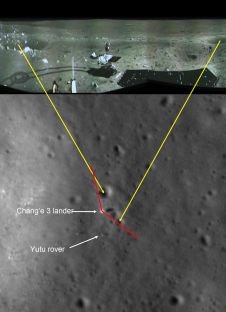 Panorma  showing Yutu shortly after it drove down the ramp to the surface.