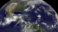 GOES image of tropical storms across the world