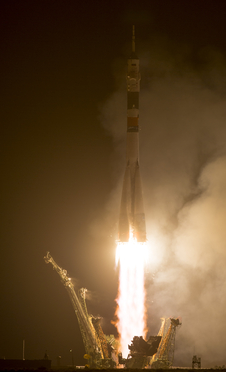 The Soyuz TMA-13M rocket is launched with Expedition 40 Soyuz Commander Maxim Suraev, of the Russian Federal Space Agency, Roscosmos, Flight Engineer Alexander Gerst, of the European Space Agency, ESA, and Flight Engineer Reid Wiseman of NASA in the early hours of Thursday, May 29, 2014 at the Baikonur Cosmodrome in Kazakhstan. Suraev, Gerst, and Wiseman will spend the next five and a half months aboard the International Space Station.