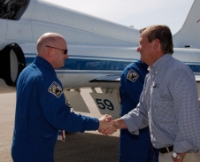 Launch Director Mike Leinbach greets STS-124 Commander Mark Kelly
