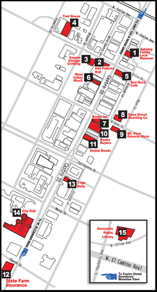 Map of Mountain View and (inset) Sunnyvale, California, showing locations of exhibits.