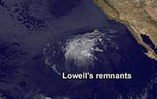 GOES image of Lowell's remnants