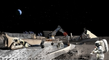 Artist rendition of building on the moon, and astronauts working.