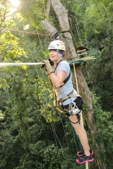 Quinn-House walking an 80 foot high tight rope at Vallarta Adventures in Puerto Vallarta, Mexico.