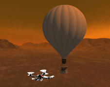 Rotocraft deployed from a balloon on Saturns giant moon, Titan.