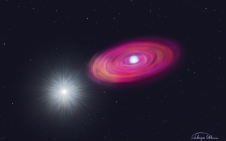 This artist rendering shows the binary system of MAXI J0158-744, consisting of a white dwarf (left) and a Be star (right).