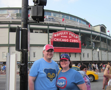 Meehan and her husband at Wrigley Field.