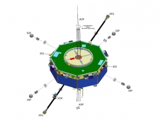 Diagram of MMS spacecraft with communication components identified.